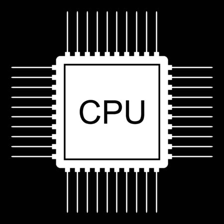 Processor icon on black background.