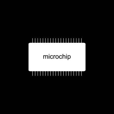Microchip icon on black background. Vector illustration. Stock Illustratie