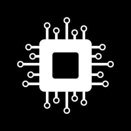 Processor icon on black background. Vector illustration. Illustration