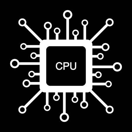Processor icon on black background. Vector illustration.