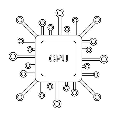 Icône du processeur sur fond blanc. Illustration vectorielle.