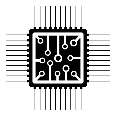 Processor icon on white background. Vector illustration.