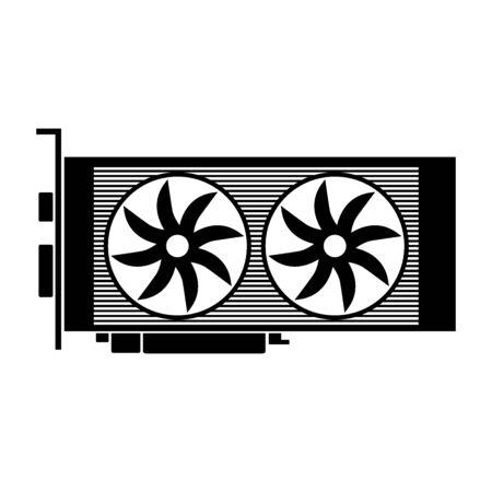 Video card icon on white background. Vector illustration. Illustration