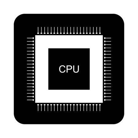 Processor icon on black square button. Vector illustration.