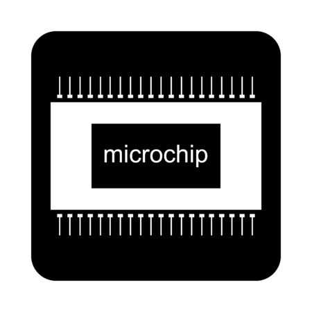 Microchip icon on black square button. Vector illustration. 일러스트
