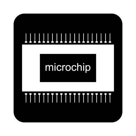 Microchip icon on black square button. Vector illustration. Illustration