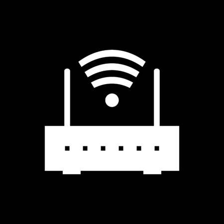 Router icon on black background. Vector illustration. Иллюстрация