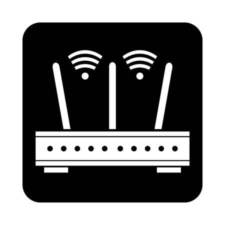 Router icon on black square button. Vector illustration.