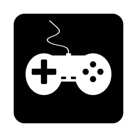 Game console on black square button. Vector illustration.