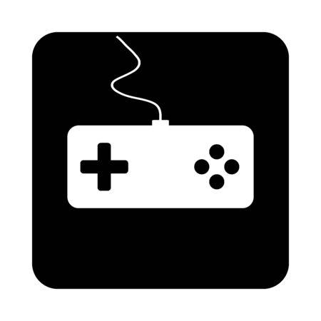 Game console on black square button. Vector illustration.