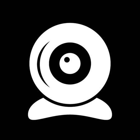 Webcam icon on black background. Vector illustration.