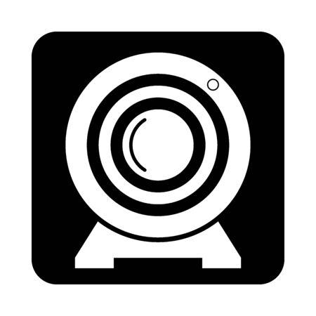 Webcam icon on black square button. Vector illustration. Stock Illustratie