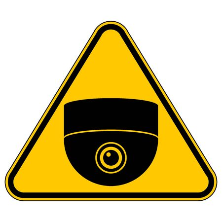 Surveillance camera warning sign on white.