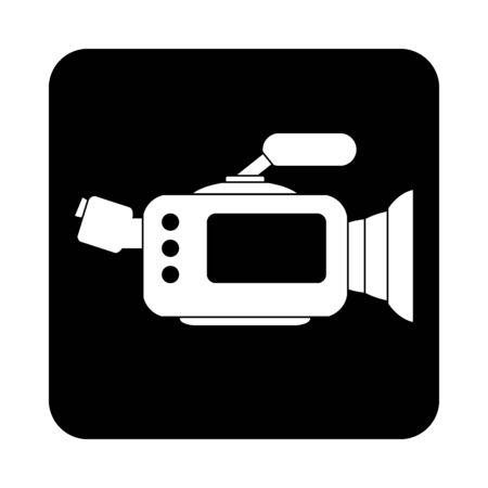 Camera icon sign on black square button. Vector illustration.