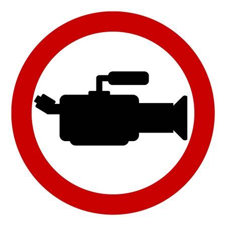 No camera sign on white background.