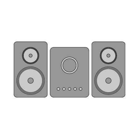 Stereo speaker system icon on white background. Vector illustration. Banque d'images - 135464924
