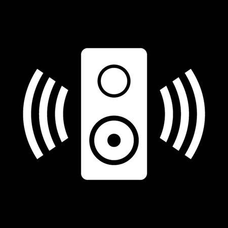 Speaker icon on black background. Vector illustration. Banque d'images - 135521659