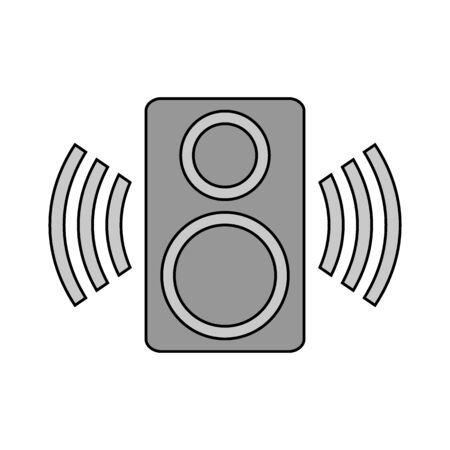 Speaker icon on black background. Vector illustration.