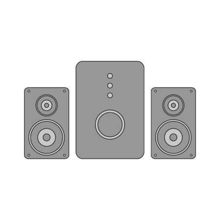 Stereo speaker system icon on white background. Vector illustration. Banque d'images - 135881165