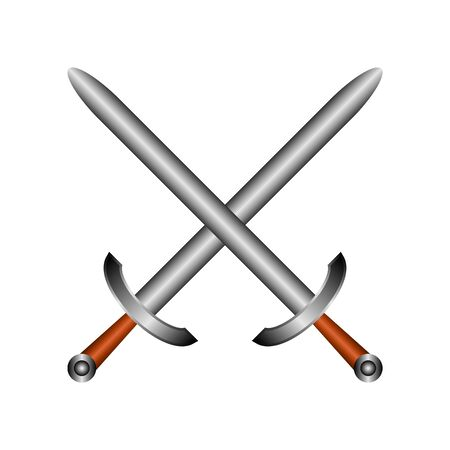 Crossed swords icon on white background. Vector illustration.