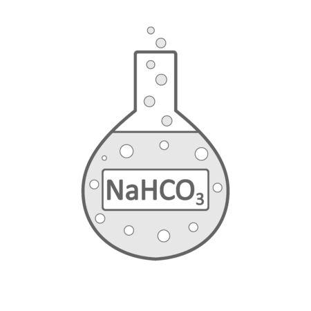 Laboratory glass with sodium bicarbonate on white background. Vector illustration.