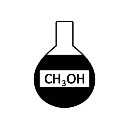 Laboratory glass with methyl alcohol on white background. Vector illustration.  イラスト・ベクター素材