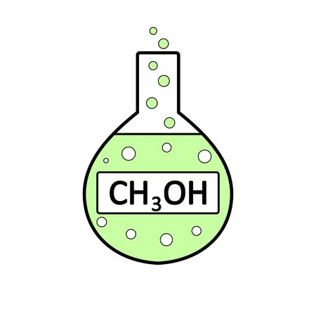 Laboratory glass with methyl alcohol on white background. Vector illustration. Illustration
