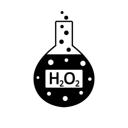 Laborglas mit Peroxid auf weißem Hintergrund. Vektor-Illustration.