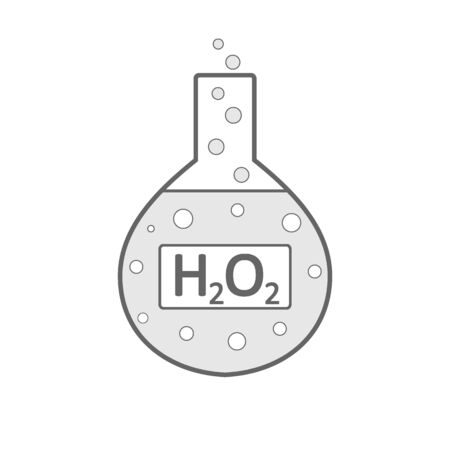 Laboratory glass with peroxide on white background. Vector illustration.