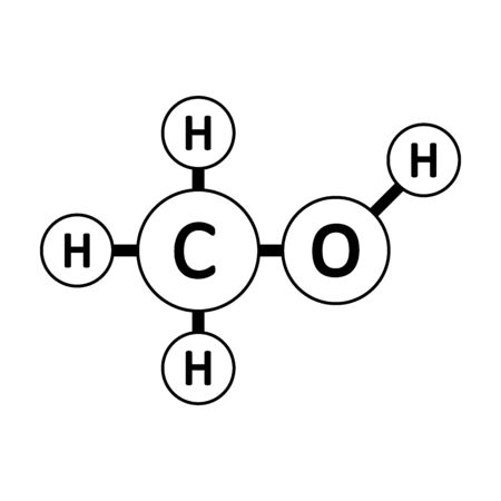 Methanol molecule icon on white background. Vector illustration.