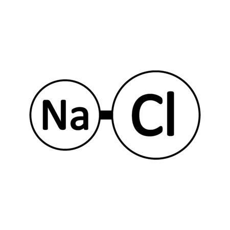 Sodium chloride molecule icon on white background. Vector illustration.