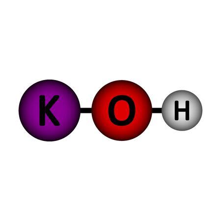 Kaliumhydroxid-Molekül-Symbol auf weißem Hintergrund. Vektor-Illustration.