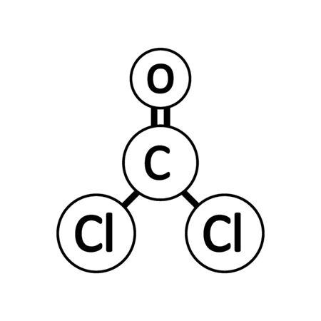 Phosgene molecule icon on white background. Vector illustration. Stock Illustratie