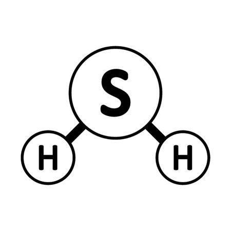 Schwefelwasserstoff-Molekül-Symbol auf weißem Hintergrund. Vektor-Illustration.