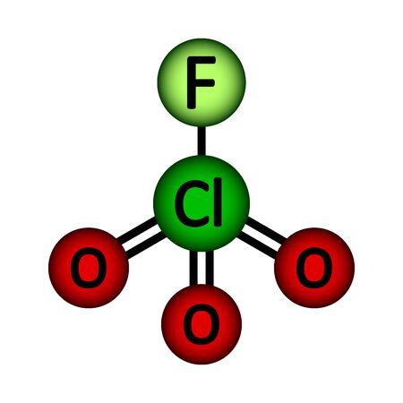 Perchloryl fluoride gas molecule icon on white background. Vector illustration. Stock Illustratie