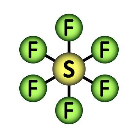 Sulfur fluoride molecule icon on white background. Vector illustration.