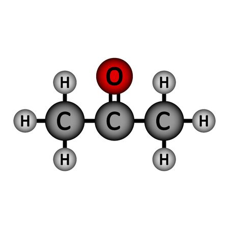 Acetone molecule icon on white background. Vector illustration.