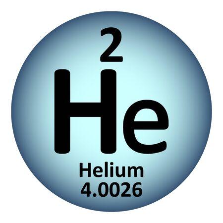 Periodic table element helium icon on white background. Vector illustration. Vektoros illusztráció