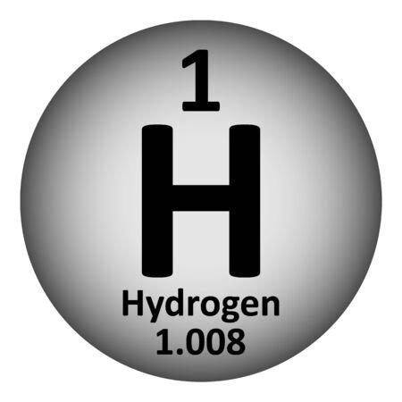 Periodensystemelement-Wasserstoffikone auf weißem Hintergrund. Vektor-illustration