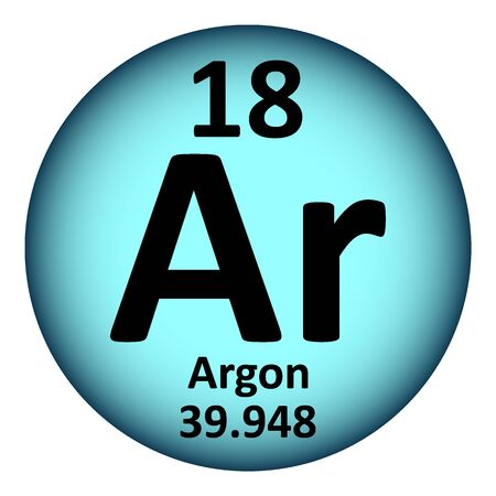 Periodic table element argon icon on white background. Vector illustration.