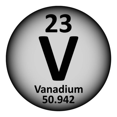 Periodic table element vanadium icon on white background. Vector illustration.
