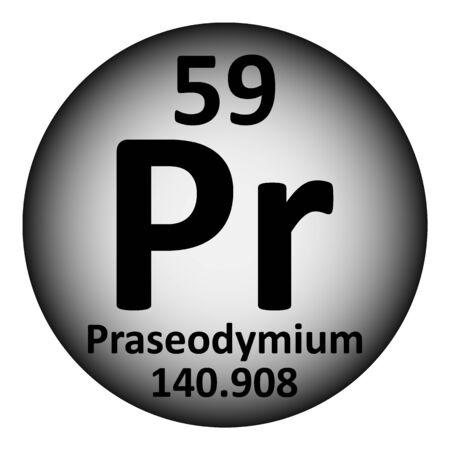 Periodic table element praseodymium icon on white background. Vector illustration. Çizim