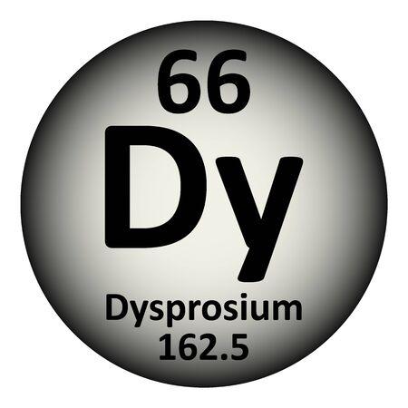 Periodic table element dysprosium icon on white background. Vector illustration.