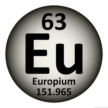 Periodic table element europium icon on white background. Vector illustration. Çizim