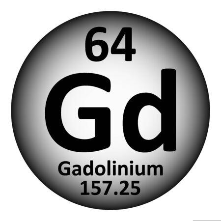 Periodic table element gadolinium icon on white background. Vector illustration. Çizim