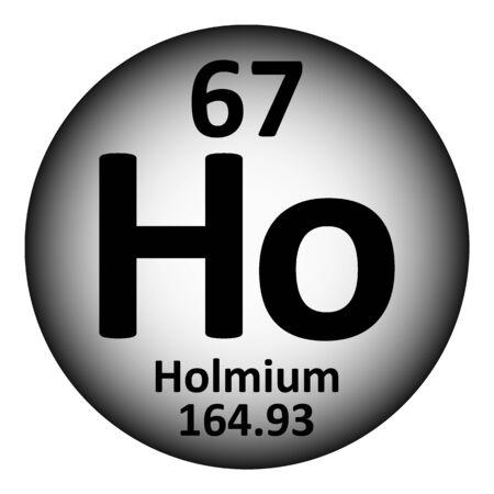 Periodic table element holmium icon on white background. Vector illustration. Çizim