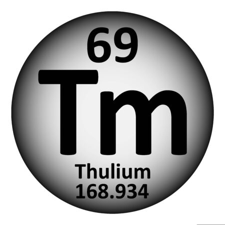 Periodic table element thulium icon on white background. Vector illustration. Çizim