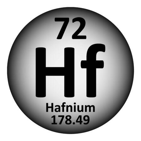 Periodic table element hafnium icon on white background. Vector illustration. Çizim