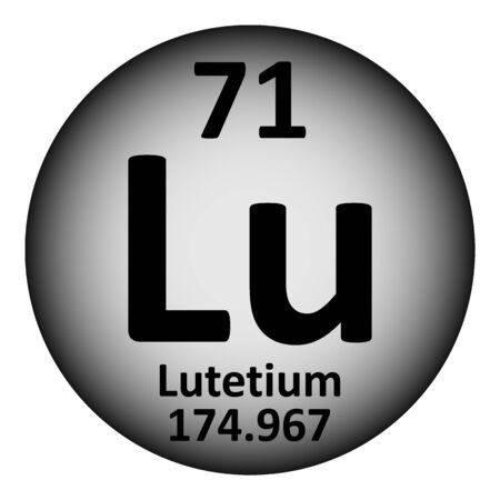Periodic table element lutetium icon on white background. Vector illustration.