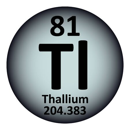 Periodic table element thallium icon on white background. Vector illustration. Ilustração